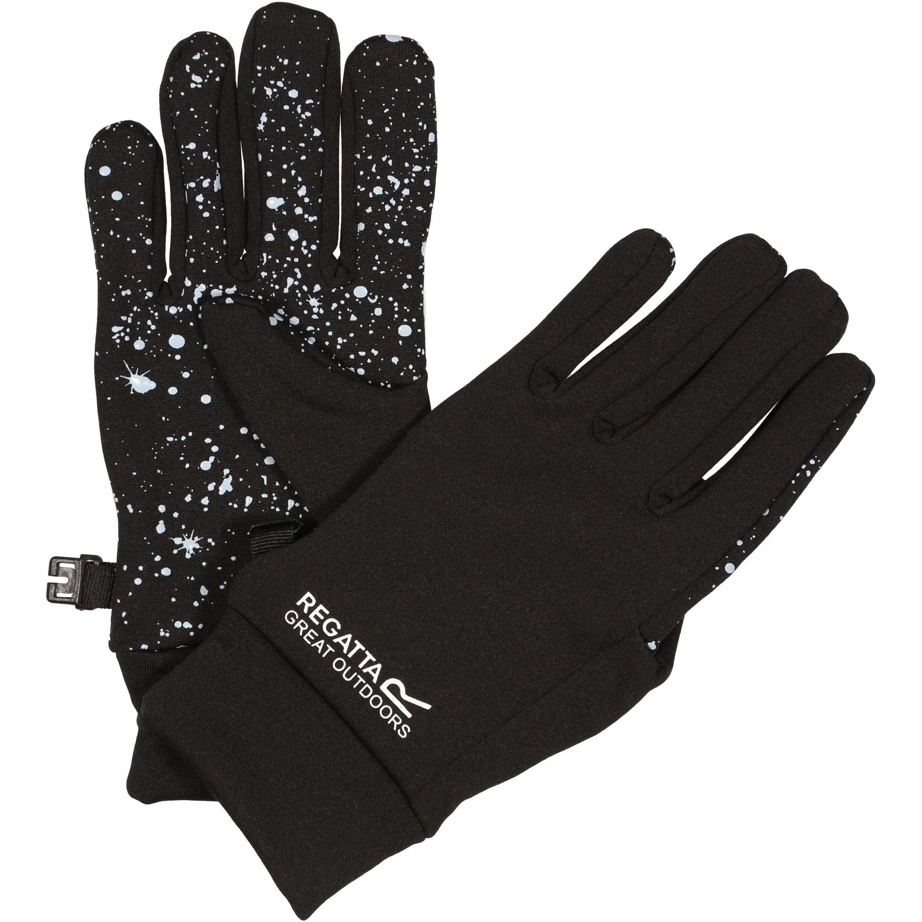 Picture of Regatta Grippy Kids Gloves - R7R Black/Ice Blue