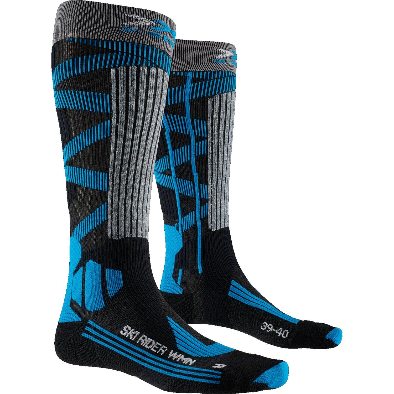 X-Socks Ski Rider 4.0 Socken für Damen - dark grey melange/blue