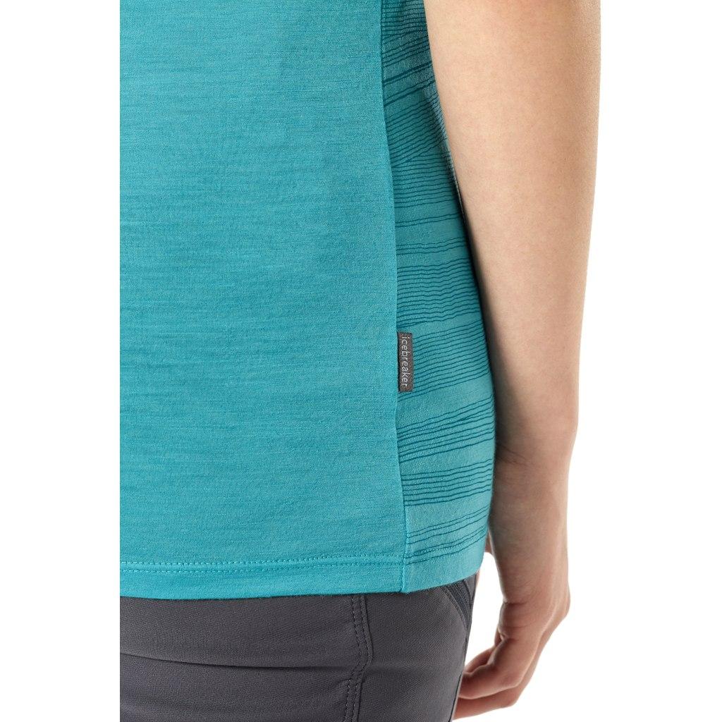 Bild von Icebreaker Tech Lite Scoop 1000 Lines Damen T-Shirt - Lagoon