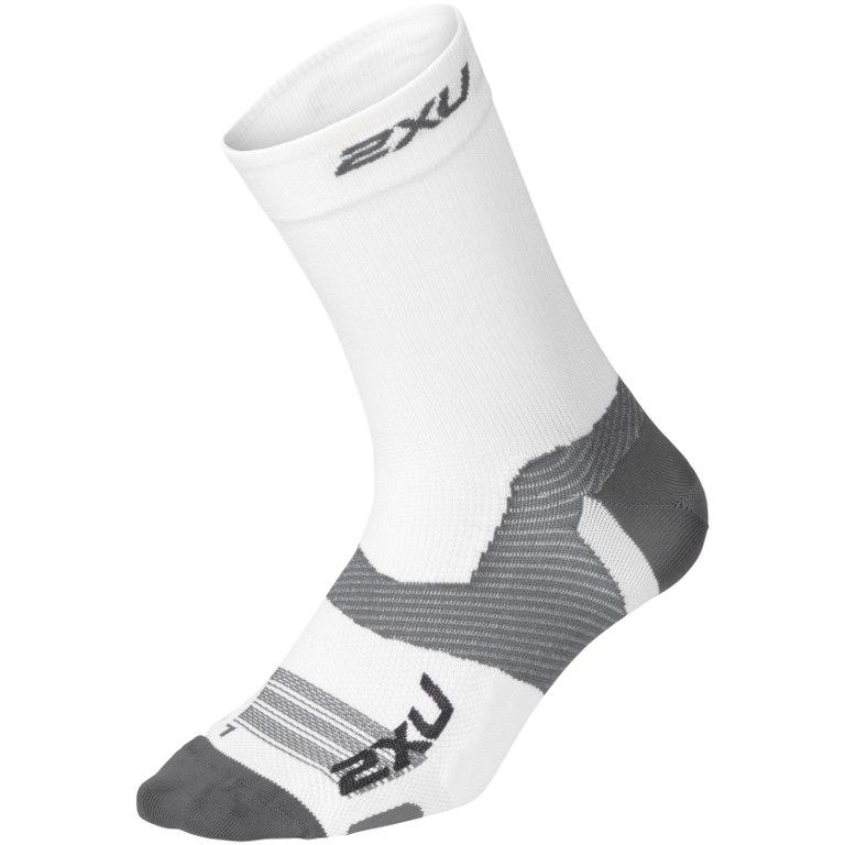 2XU Men's Vectr Ultralight Crew Sock - white/grey