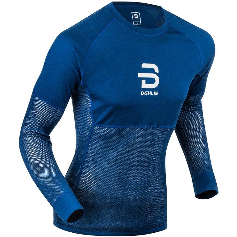 Daehlie Airnet Wool Long Sleeve Undershirt - estate blue 25300