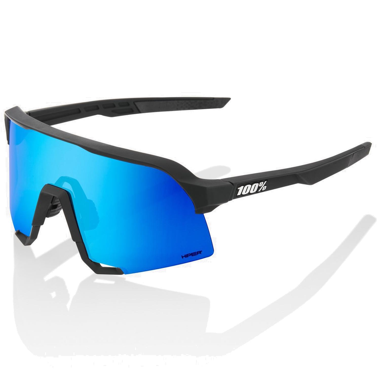 100% S3 HiPER Mirror Gafas - Matte Black/Blue Multilayer + Clear
