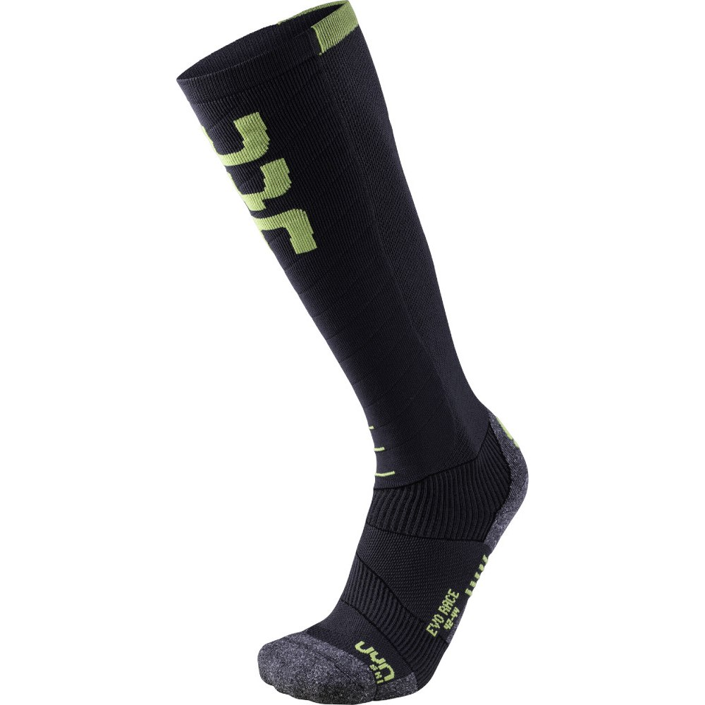 UYN Man Ski Evo Race Socken - Anthracite/Green Lime