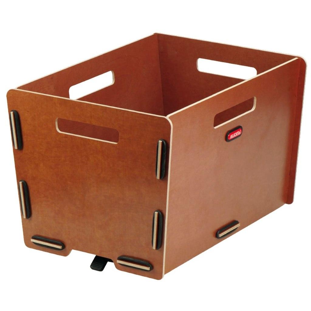 KLICKfix Radkiste Cargo - Wooden Bicycle Basket with KorbKlip 0328NK - natura