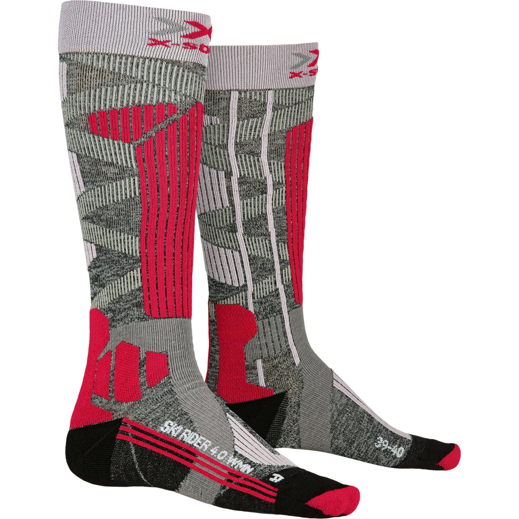 Image of X-Socks Ski Rider 4.0 Socks for Women - stone grey melange/pink