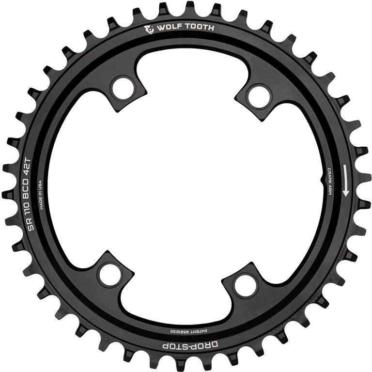 Bild von Wolf Tooth Single Kettenblatt für SRAM 110 BCD Asymmetric 4-Bolt - Drop Stop - schwarz