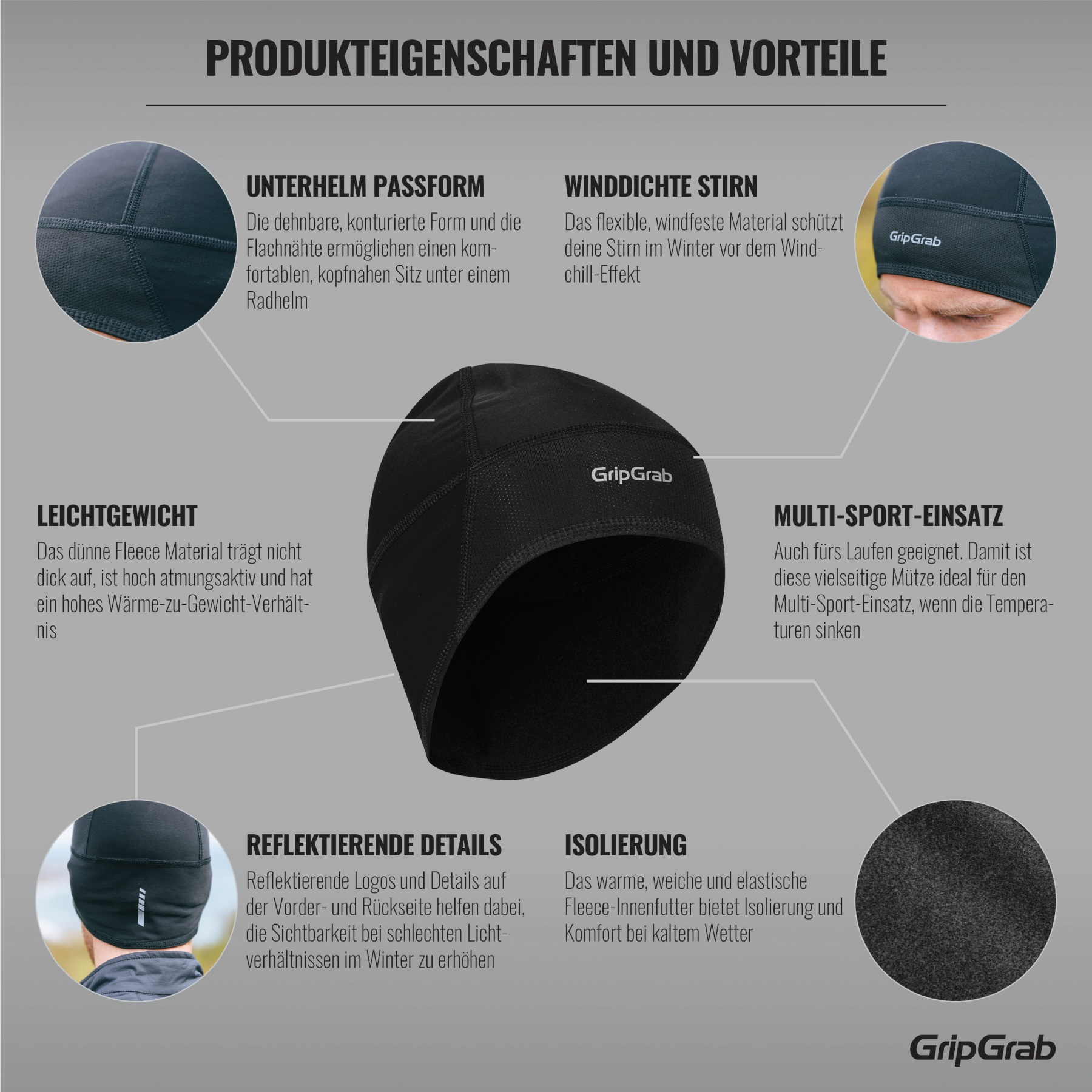 Image of GripGrab Windproof Lightweight Thermal Skull Cap - Black