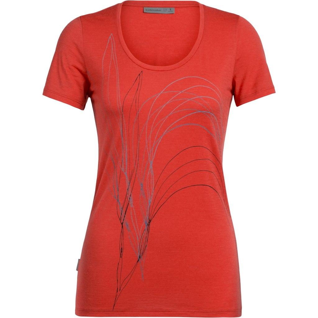 Icebreaker Tech Lite Scoop Leaf Damen T-Shirt - Fire