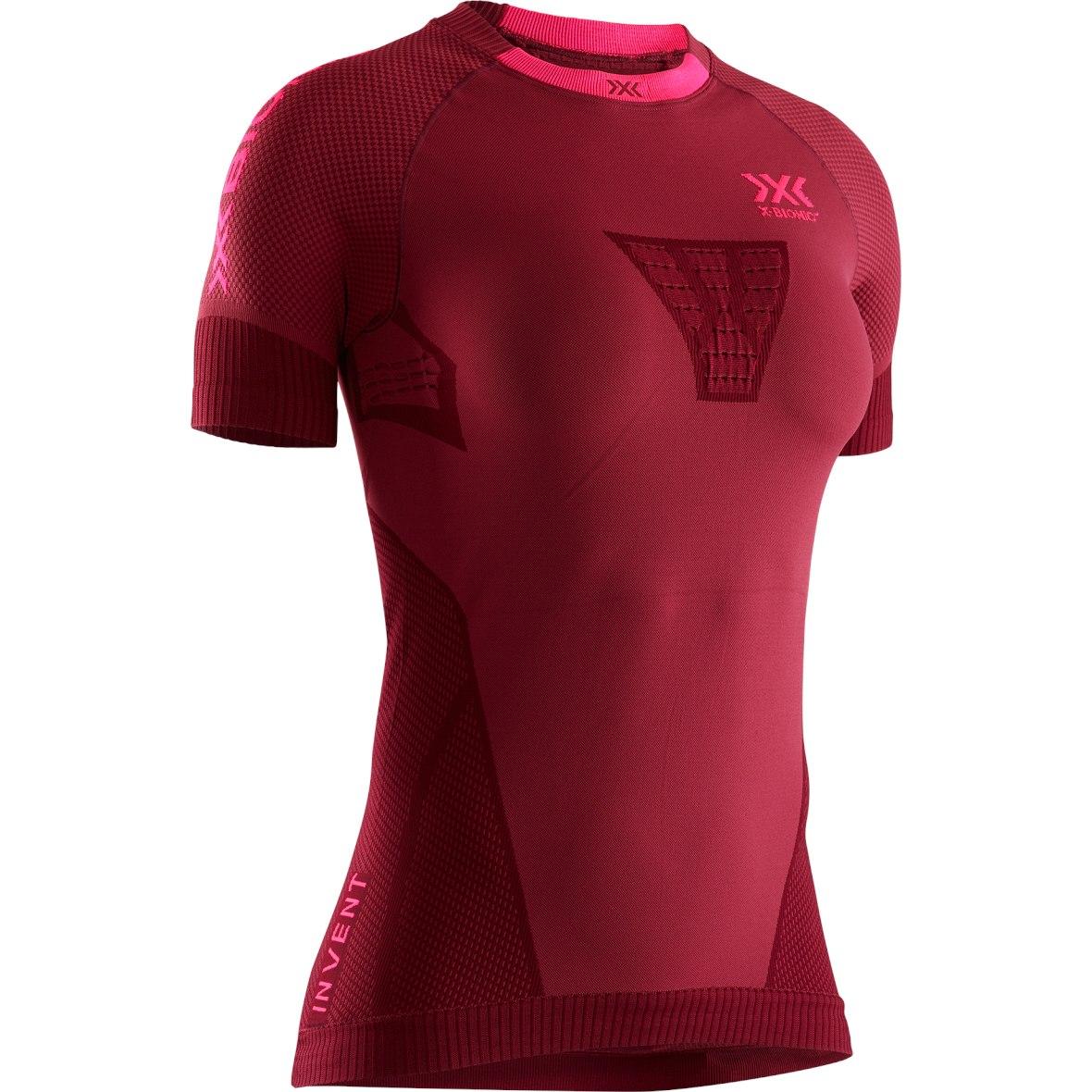 X-Bionic Invent 4.0 Run Speed Kurzarm-Laufshirt für Damen - namib red/neon flamingo