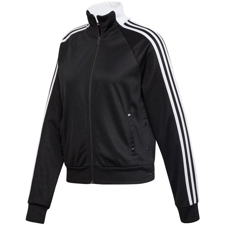 adidas Women's ID 3-Stripes Snap Track Top - black DZ8659