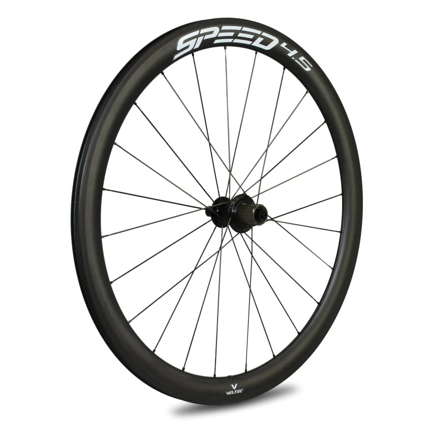 Veltec Speed 4.5 Carbon Hinterrad - Drahtreifen - QR130 - schwarz mit weißen Decals