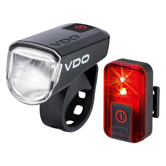 VDO ECO Light M30 + RED LED Front and Rear Light Set