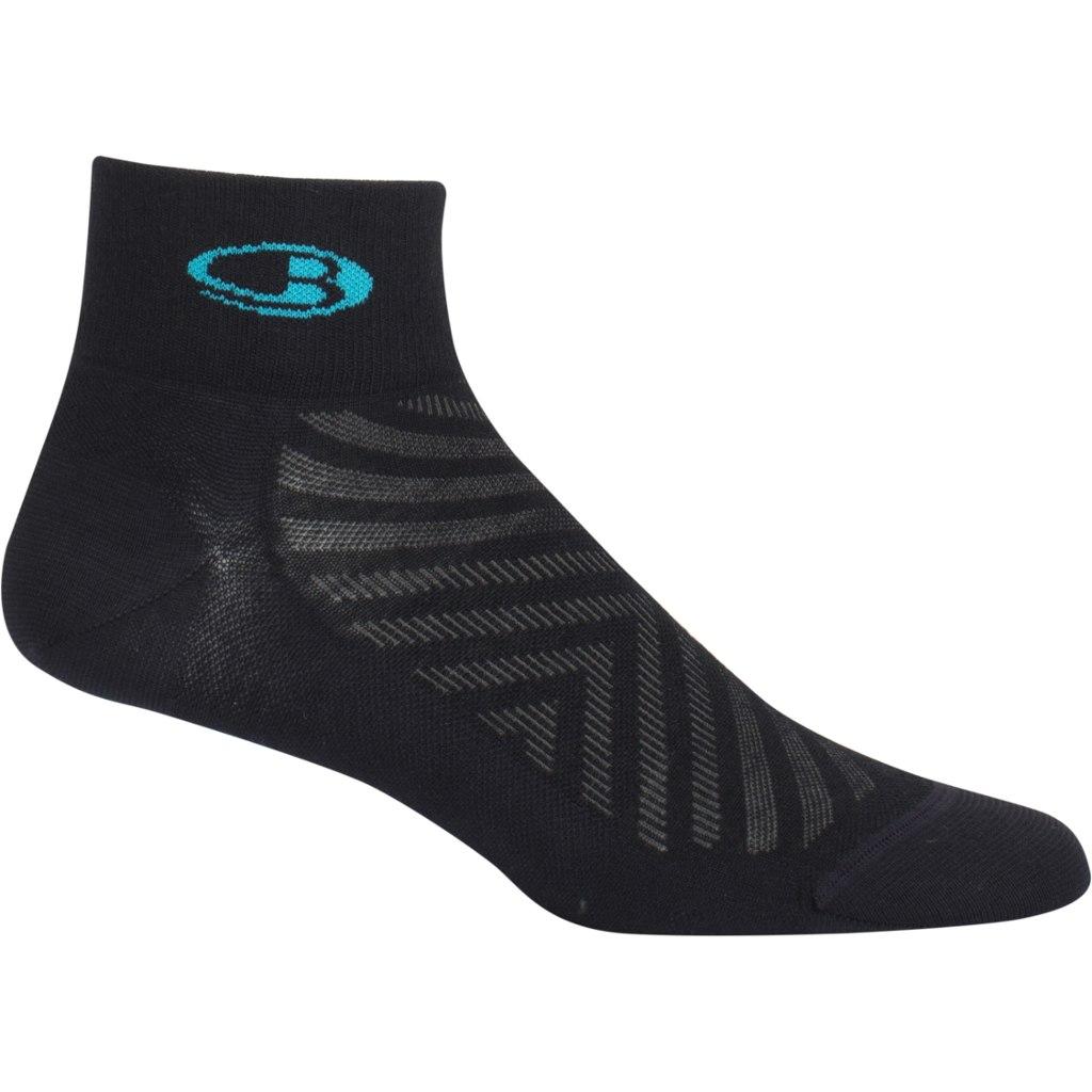 Produktbild von Icebreaker Run+ Ultralight Mini Damen Socken - Black/Lagoon
