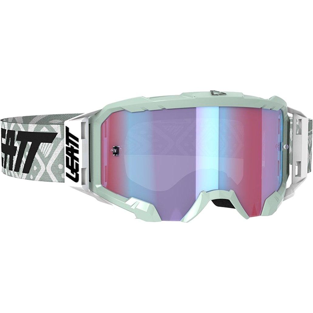 Leatt Velocity Iriz 5.5 Goggle Brille - white / blue - anti fog mirror lens