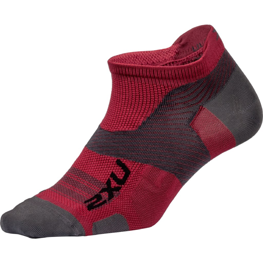 2XU Men's Vectr Ultralight No Show Sock - berry/grey