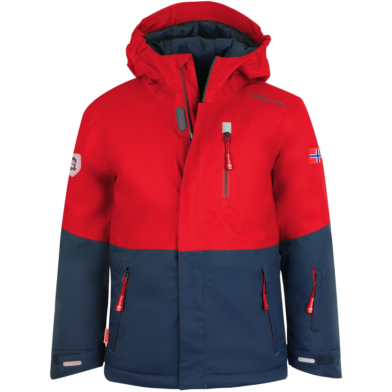 Trollkids Hallingdal Kids Waterproof Insulated Jacket - Bright Red/Mystic Blue
