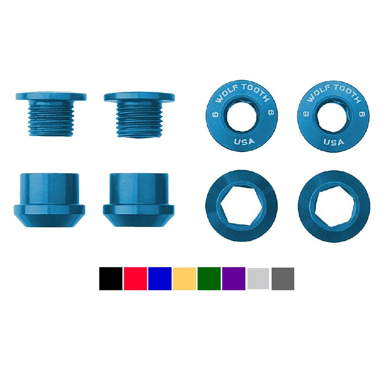 Wolf Tooth Aluminum Chainring Bolts - 6mm - 1-speed (4 pieces)