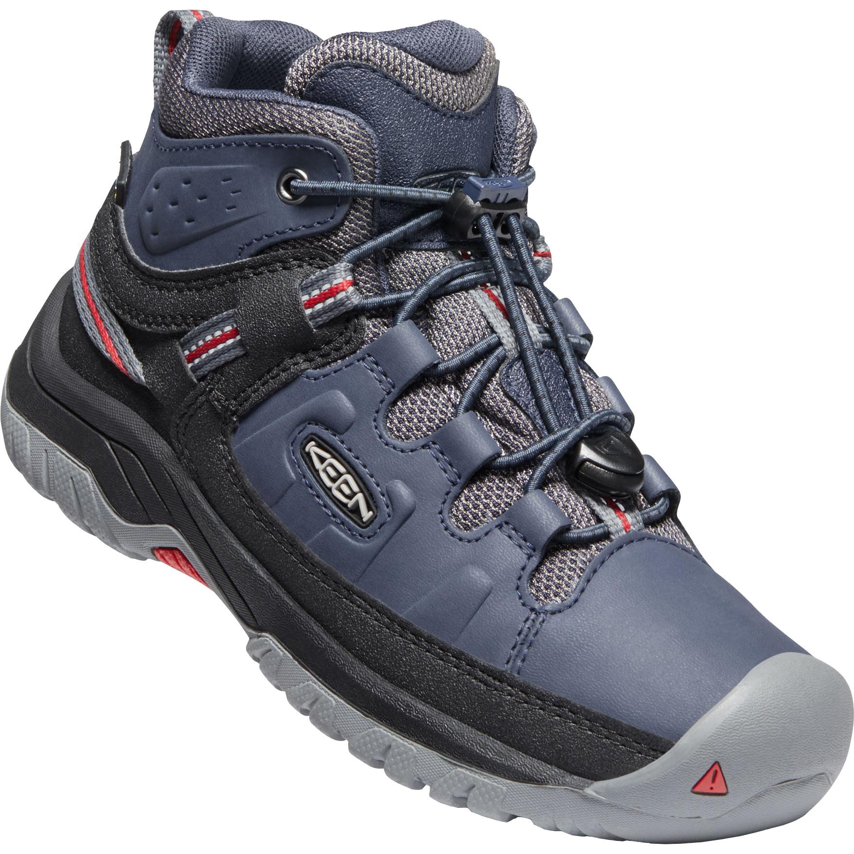 KEEN Targhee Mid Waterproof Youth Hiking Ankle Boot - Blue Nights / Red Carpet