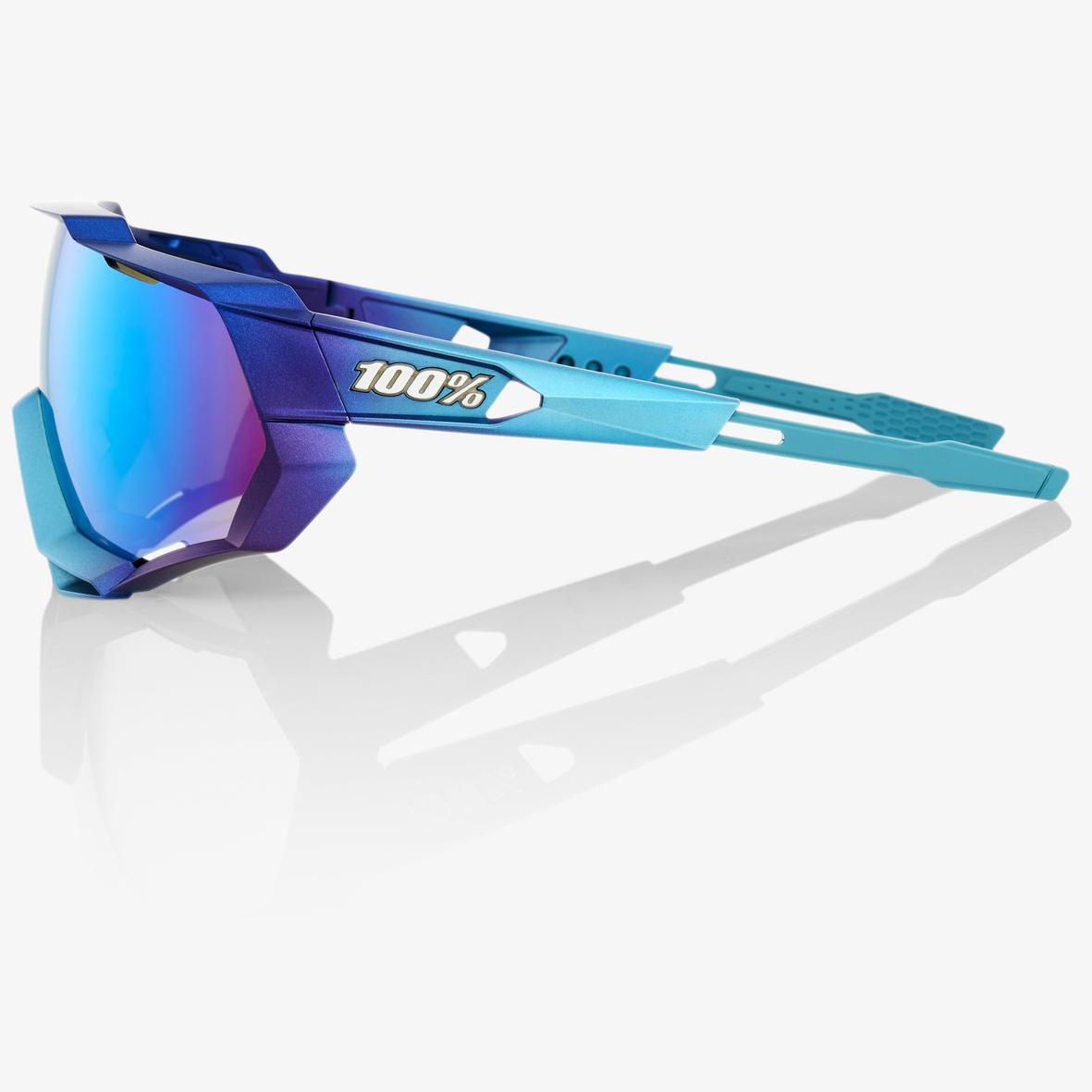 Imagen de 100% Speedtrap Mirror Lens Glasses - Matte Metallic Into the Fade/Blue Topaz Multilayer + Clear