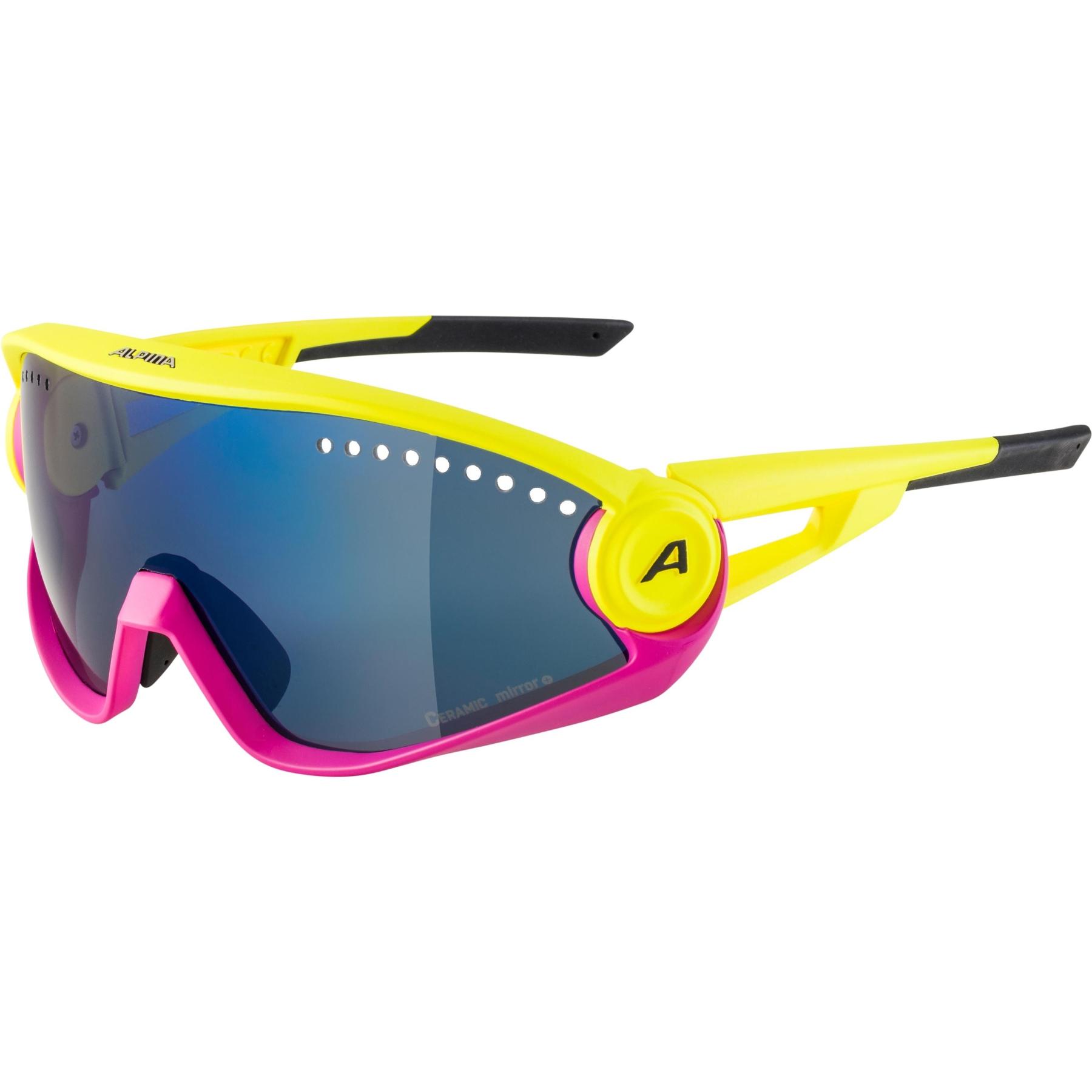 Alpina 5W1NG CM+ Glasses - pineapple-magenta  / blue mirror