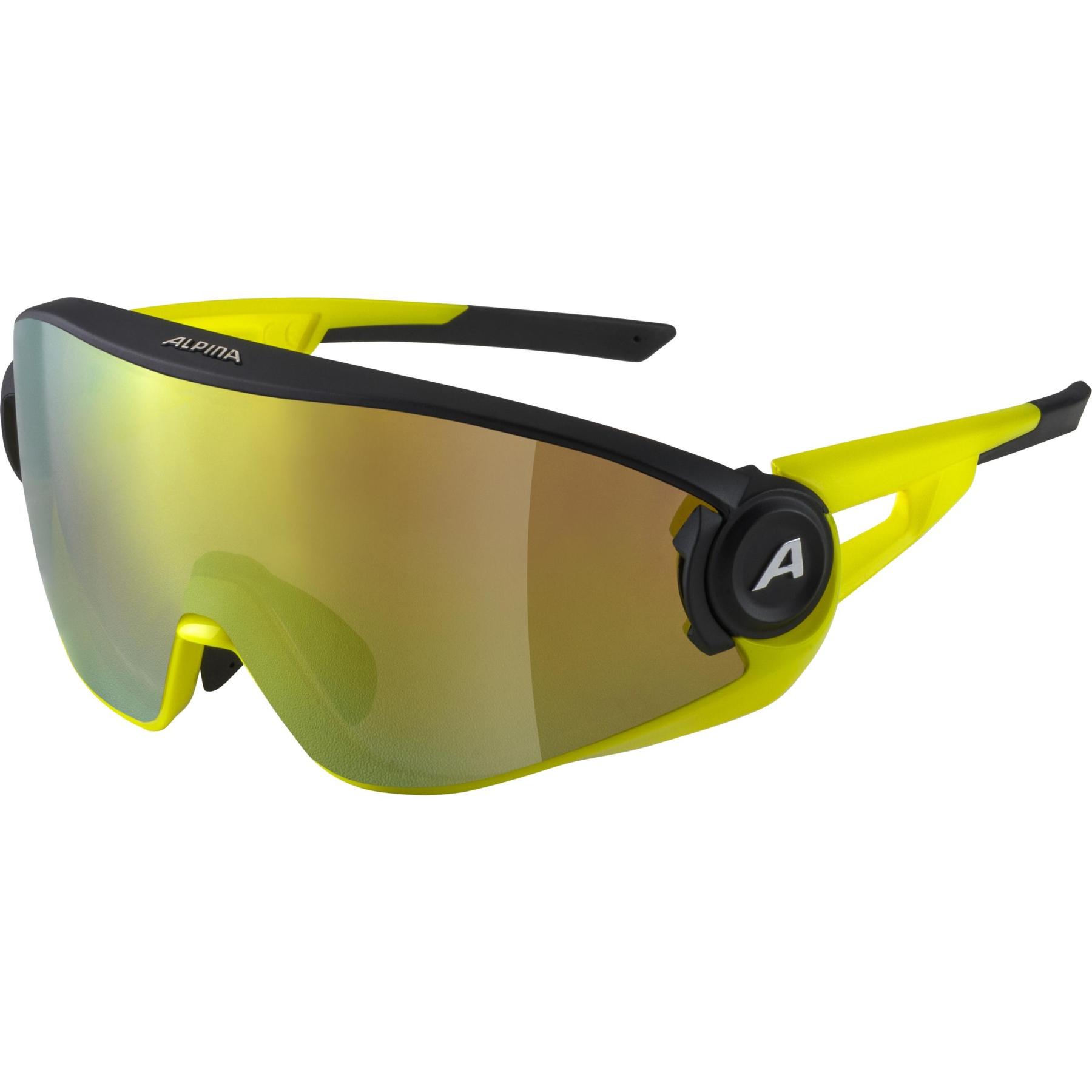 Alpina 5W1NG Q+CM Glasses - black matt-neon yellow / Quattroflex+ yellow mirror
