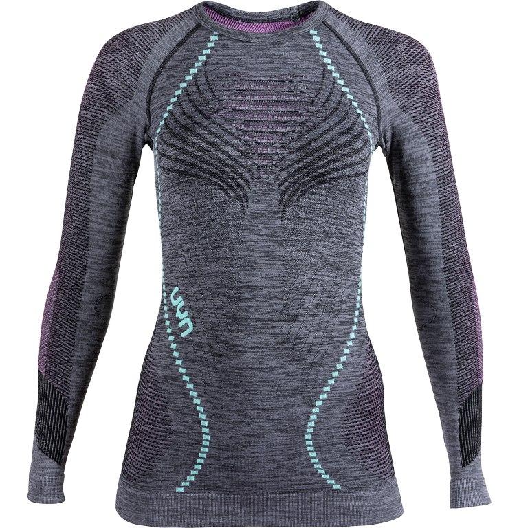 UYN Ambityon Underwear Langarmshirt Damen - Black Melange/Pink/Aqua