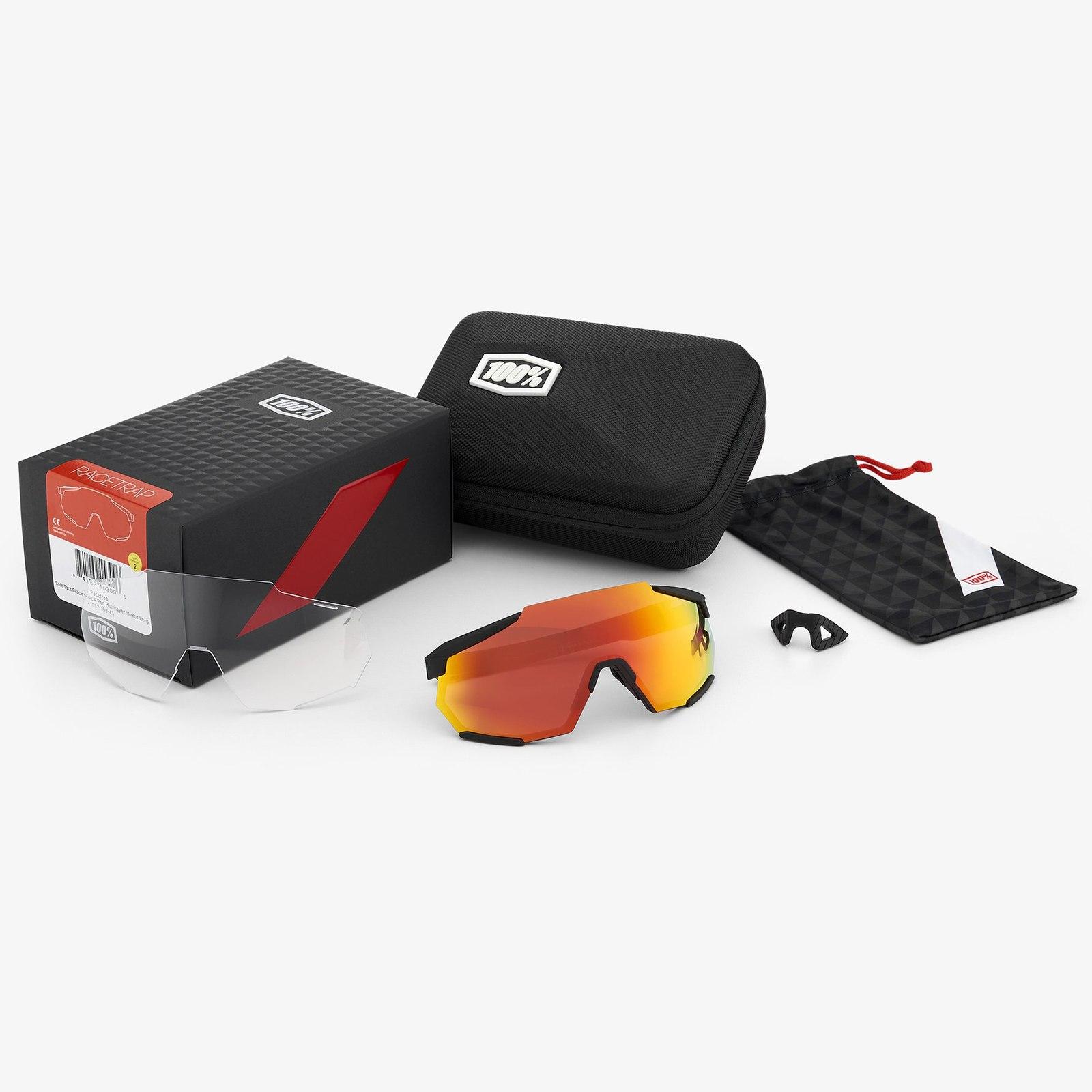 Imagen de 100% Racetrap HiPER Mirror Glasses - Soft Tact Black/Red Multilayer + Clear