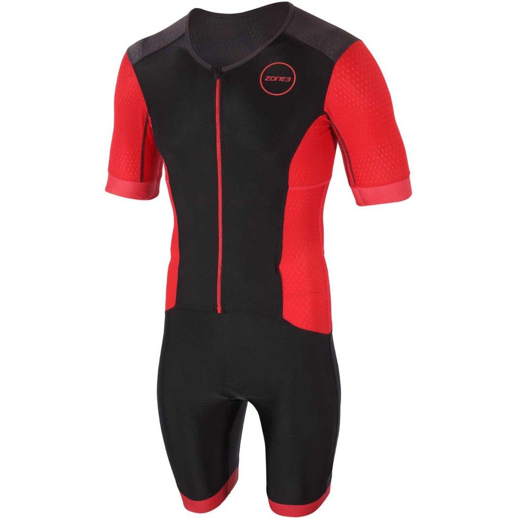 Foto de Zone3 Men's Aquaflo Plus Short Sleeve Full Zip Trisuit - black/red
