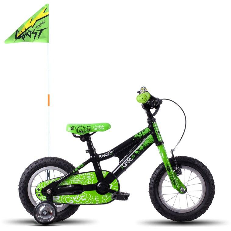 "Ghost POWERKID AL 12 K - 12"" Kids Bike - 2021 - night black / riot green / star white"