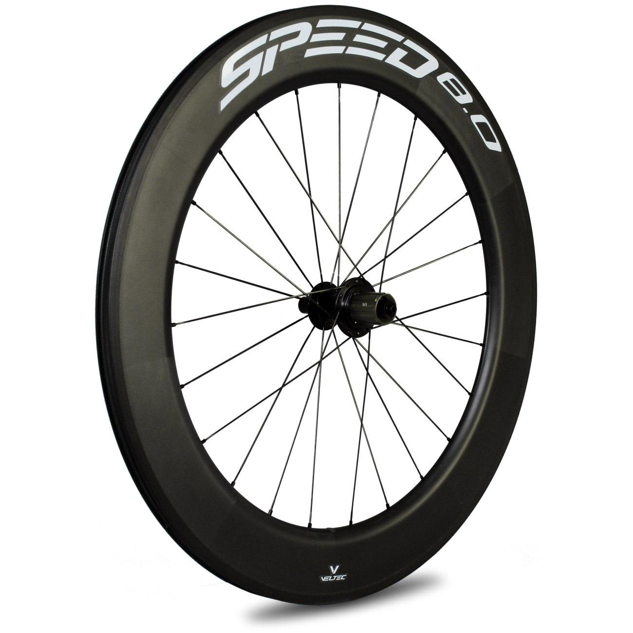 Veltec Speed 8.0 Carbon Hinterrad - Drahtreifen - QR130 - schwarz mit weißen Decals