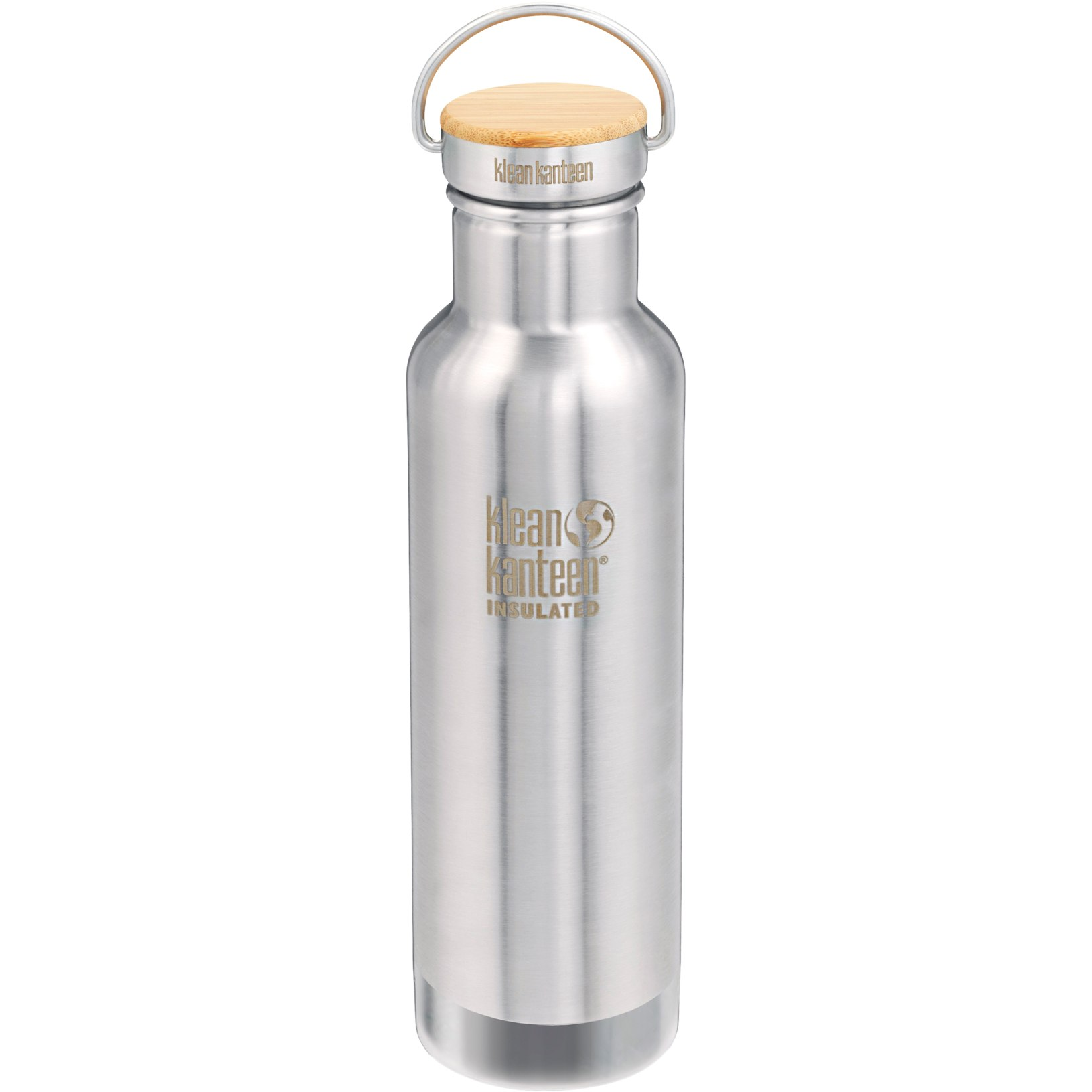 Klean Kanteen 592ml Vacuum Insulated Reflect Bottle with Bamboo Cap - brushed stainless