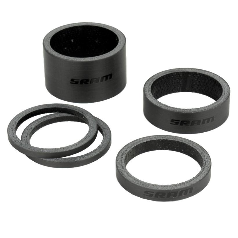 SRAM Carbon Headset Spacer Set - Logo schwarz glänzend
