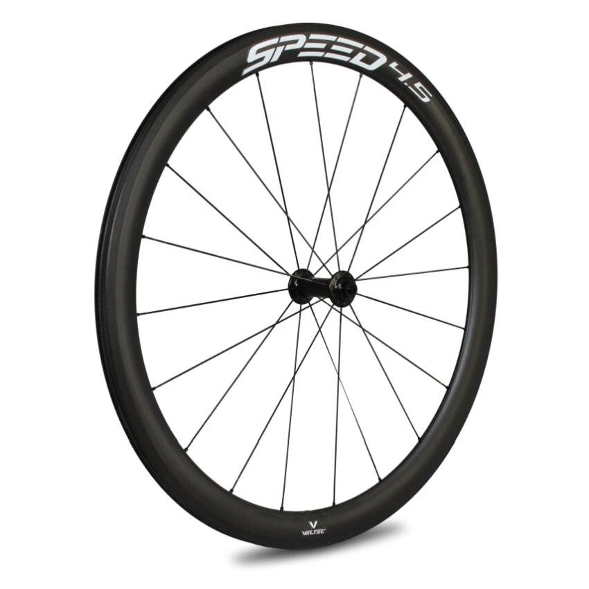 Veltec Speed 4.5 Carbon Vorderrad - Drahtreifen - QR100 - schwarz mit weißen Decals