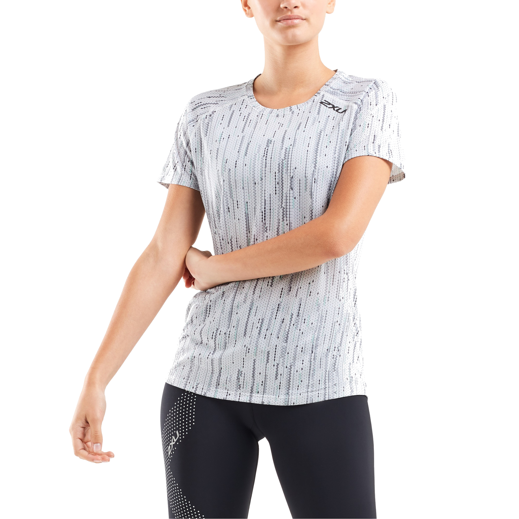 Imagen de 2XU GHST Short Sleeve Women's Tee - digital waterfall/black reflective