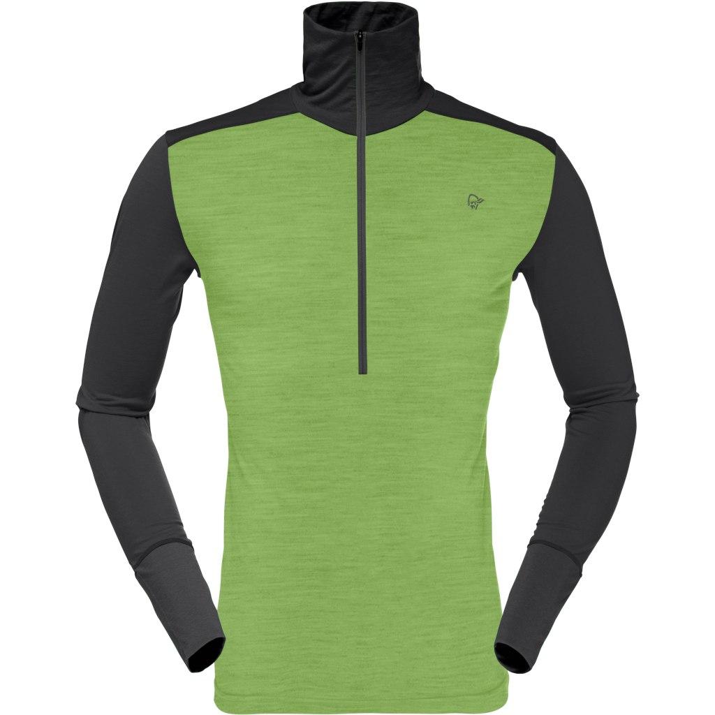Norrona wool Zip Neck Camiseta manga larga para hombres - Bamboo Green/Charcoal