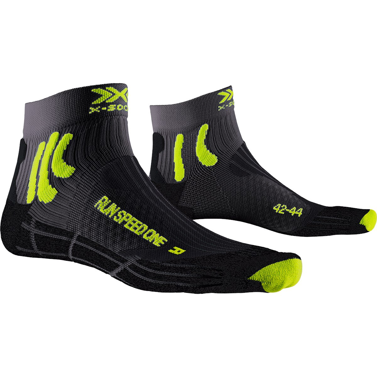 X-Socks Run Speed One Laufsocken - charcoal/phyton yellow/black