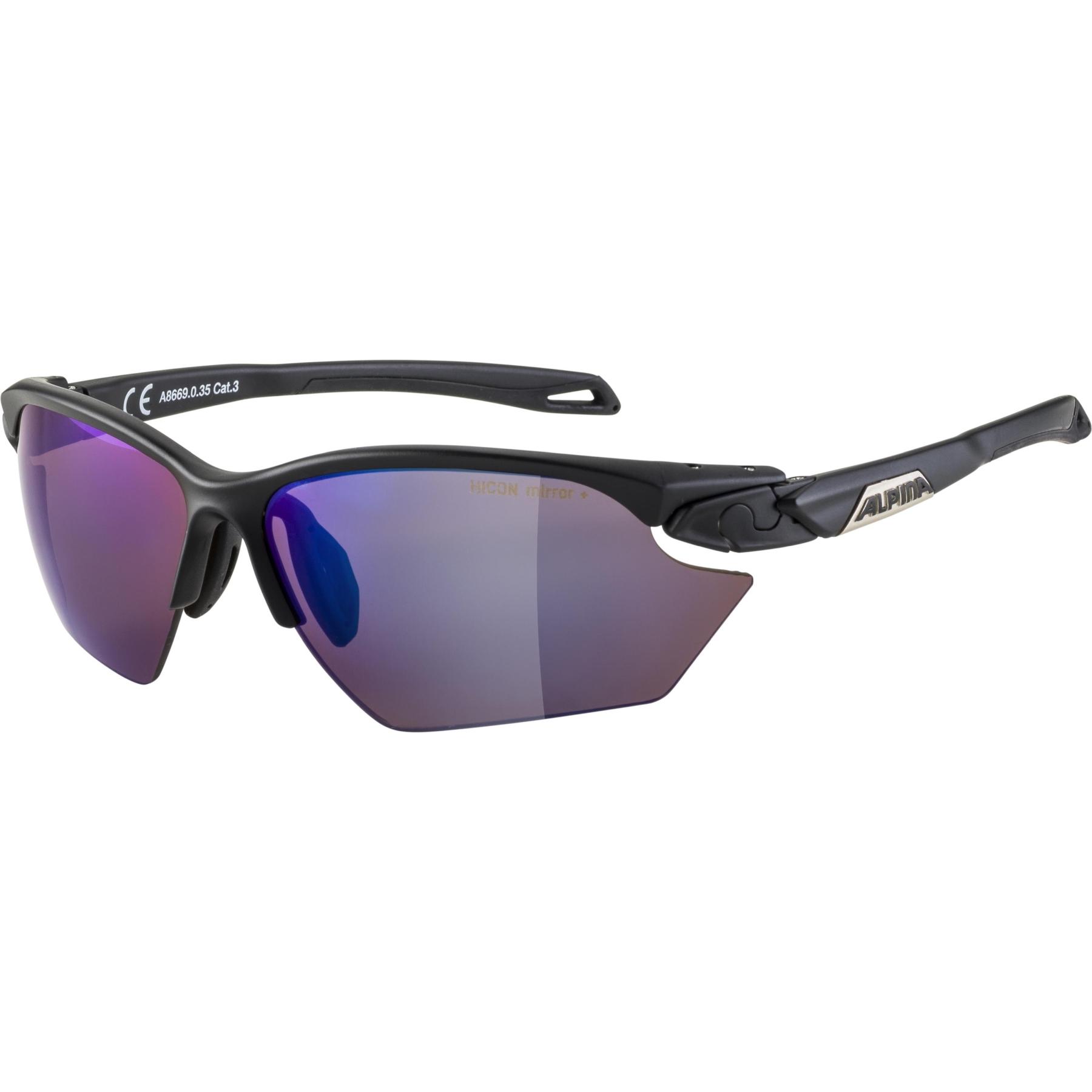 Alpina Twist five HR S HM+ Glasses - black matt / Hicon blue mirror