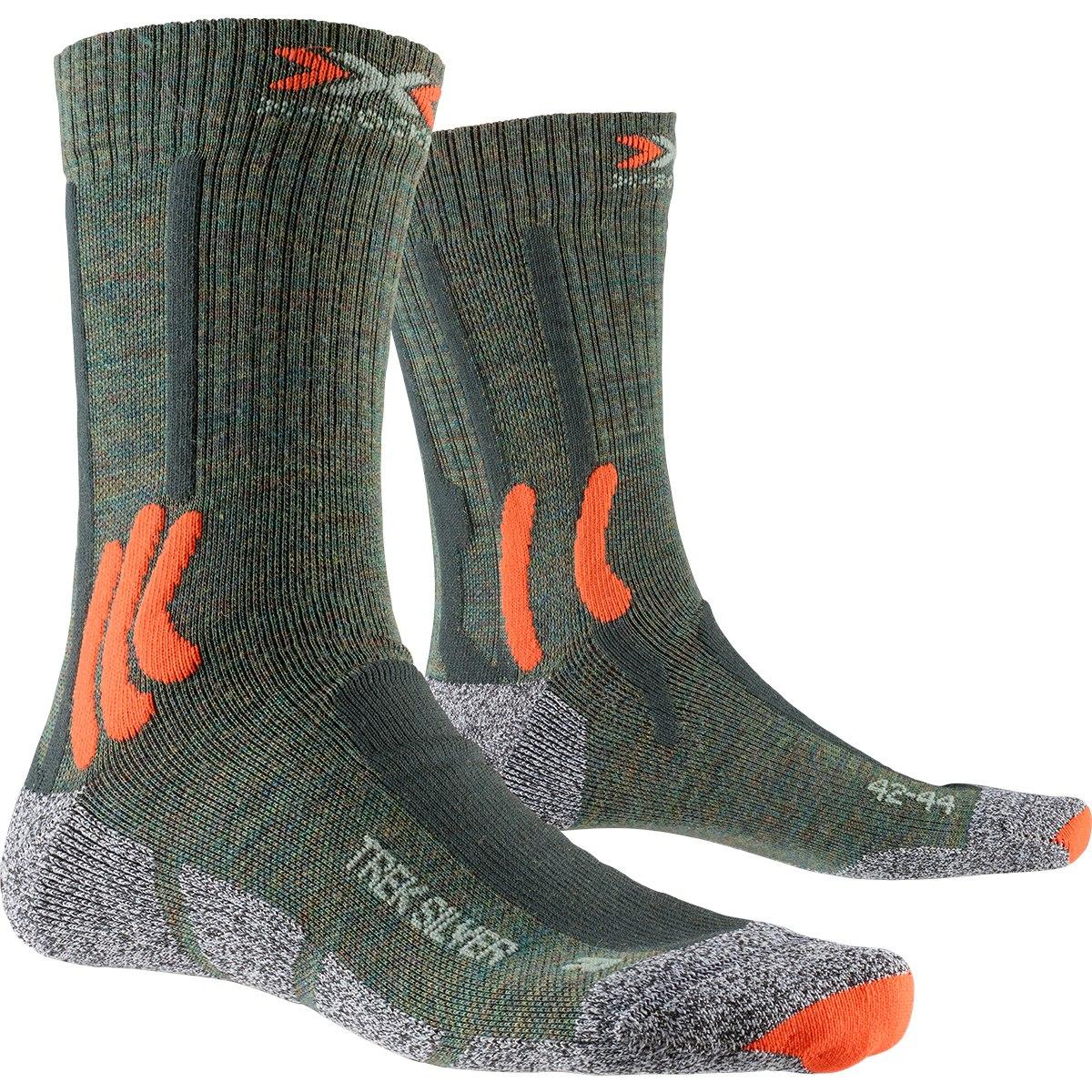 X-Socks Trek Silver Socken - olive melange/x-orange/grey melange