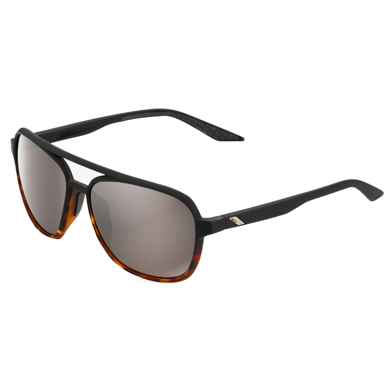 100% Kasia Aviator round Gafas - Soft Tact Black/Havana Fade - HiPER Silver Mirror Lens