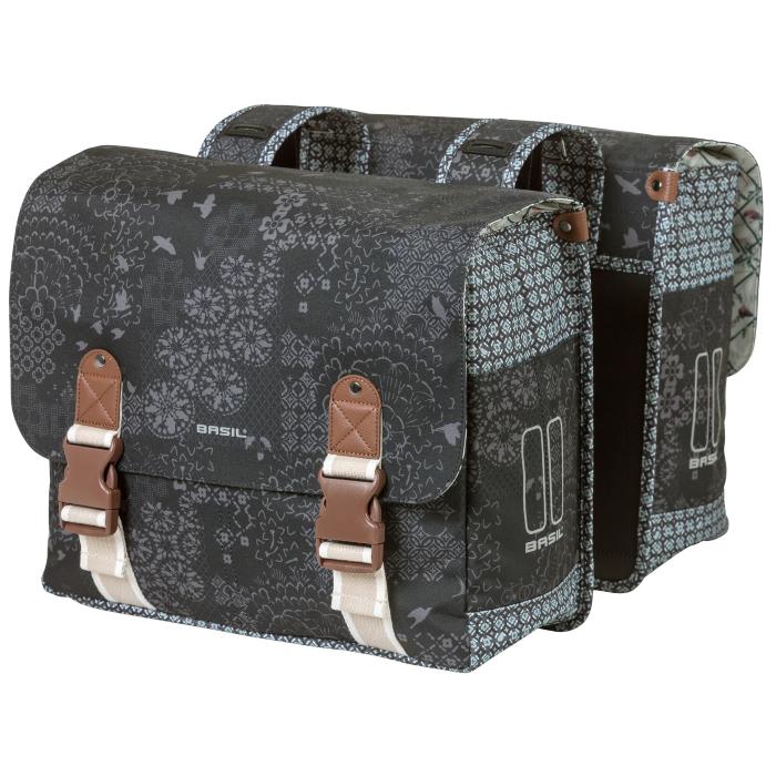 Basil Bohème Double Bag Pannier - charcoal