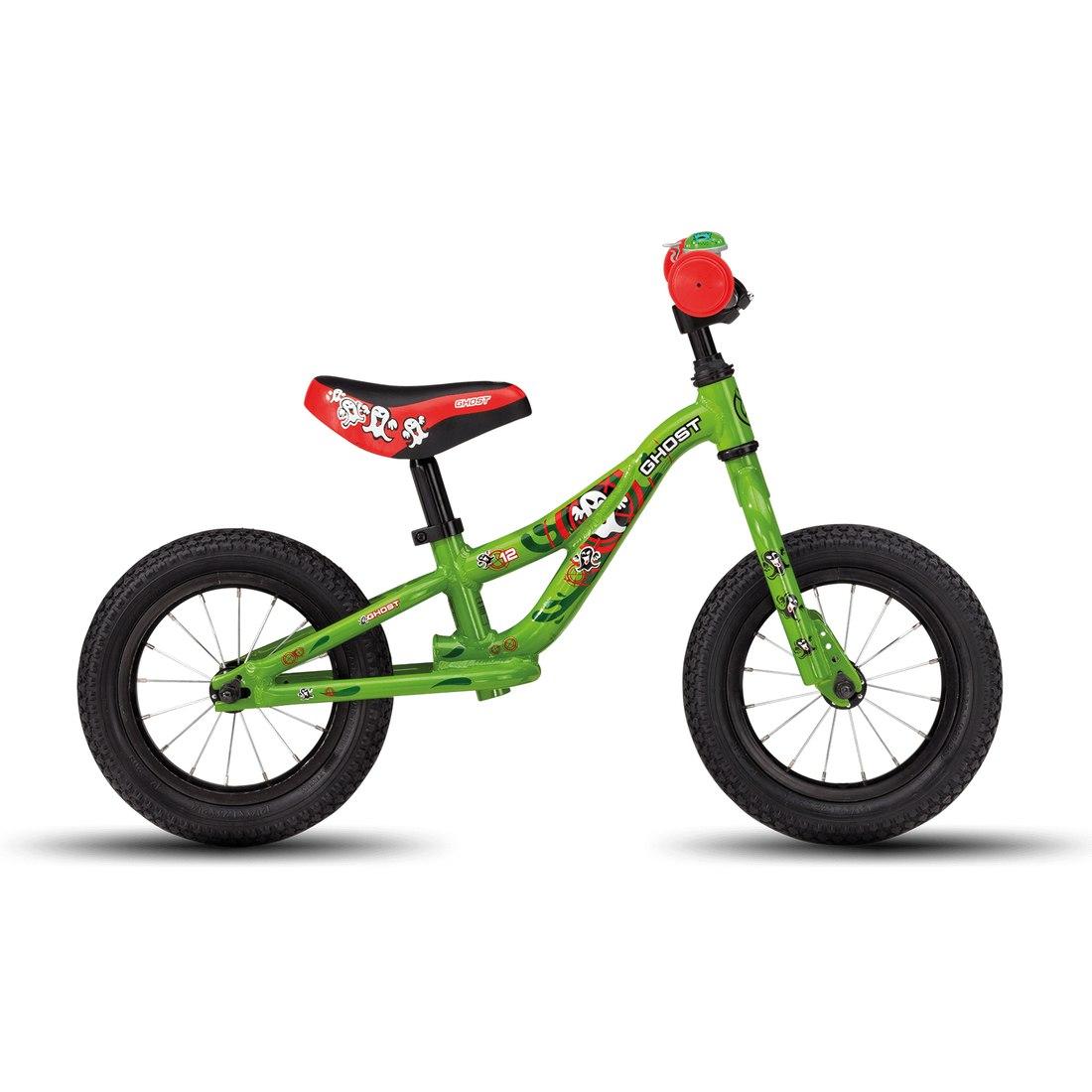 "Image of Ghost POWERKIDDY AL 12 K - 12"" Run Bike - 2020 - riot green / riot red / star white"
