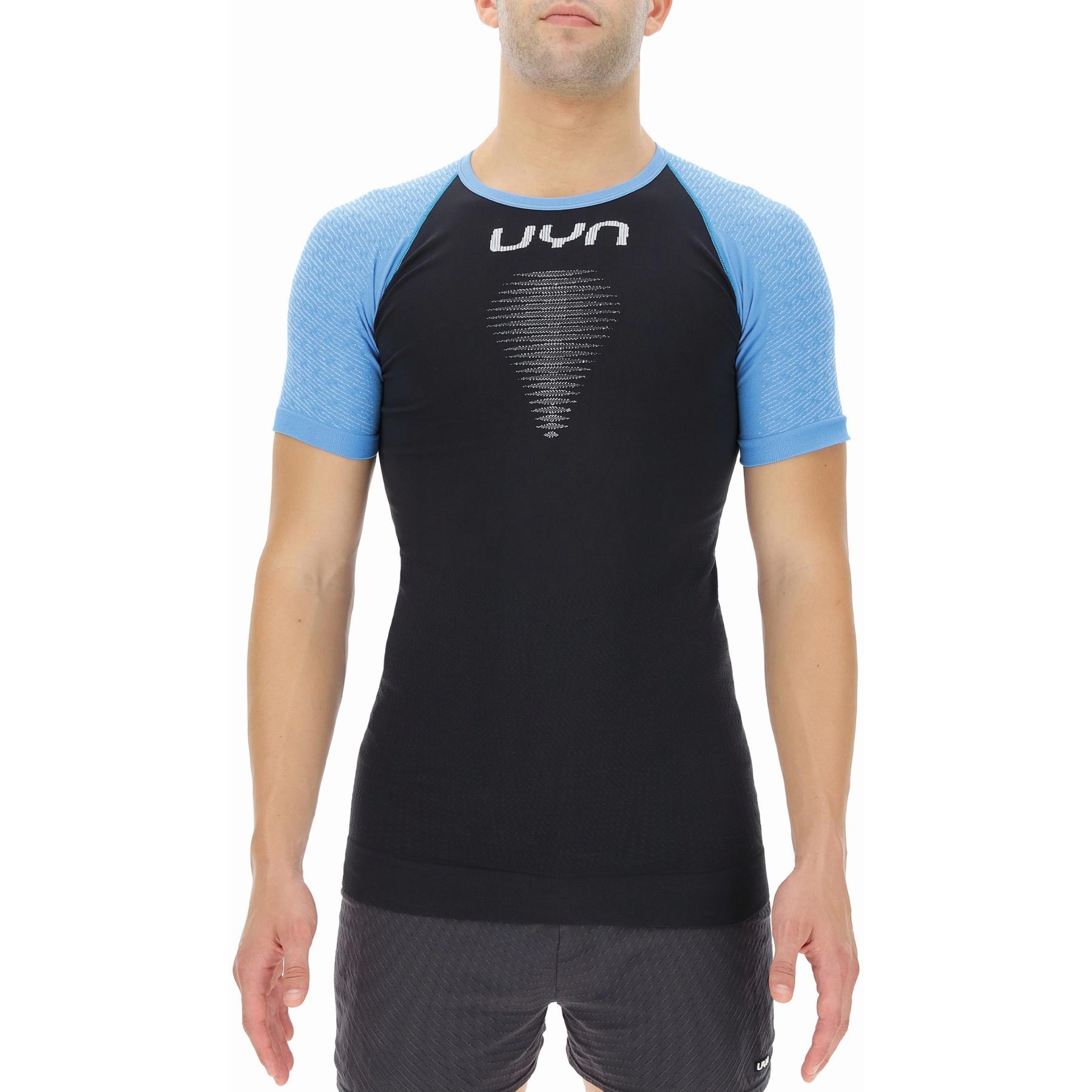 UYN Marathon Running Herren Kurzärmliges Shirt - Blackboard/Swedish Blue/White