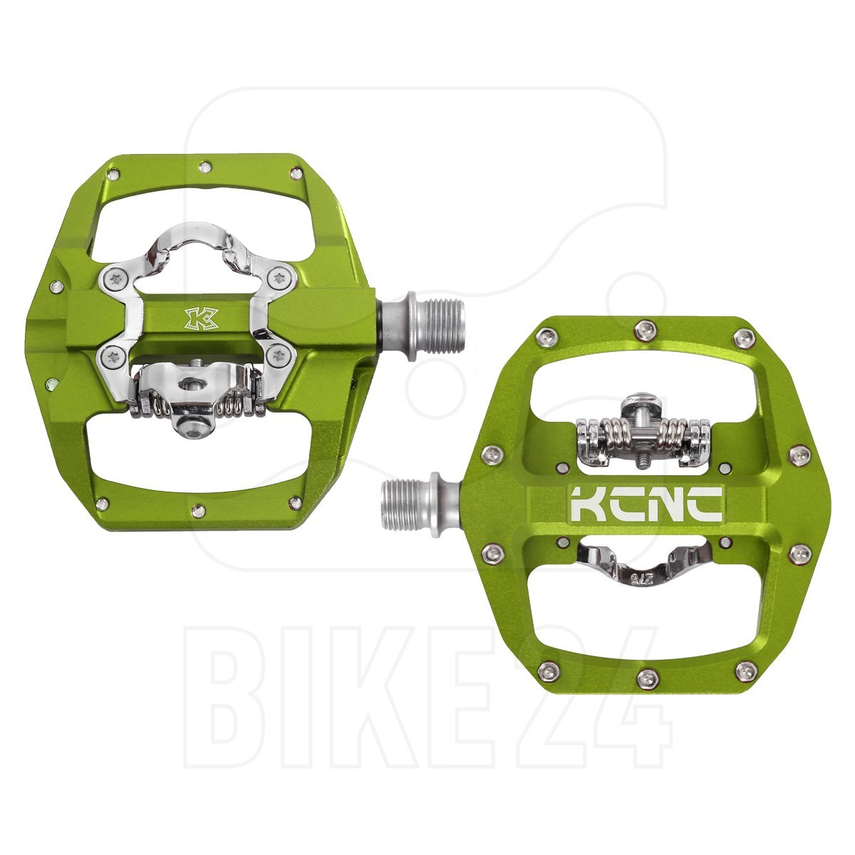 KCNC FR TRAP Clipless Pedal mit Stahlachse - gelb-grün