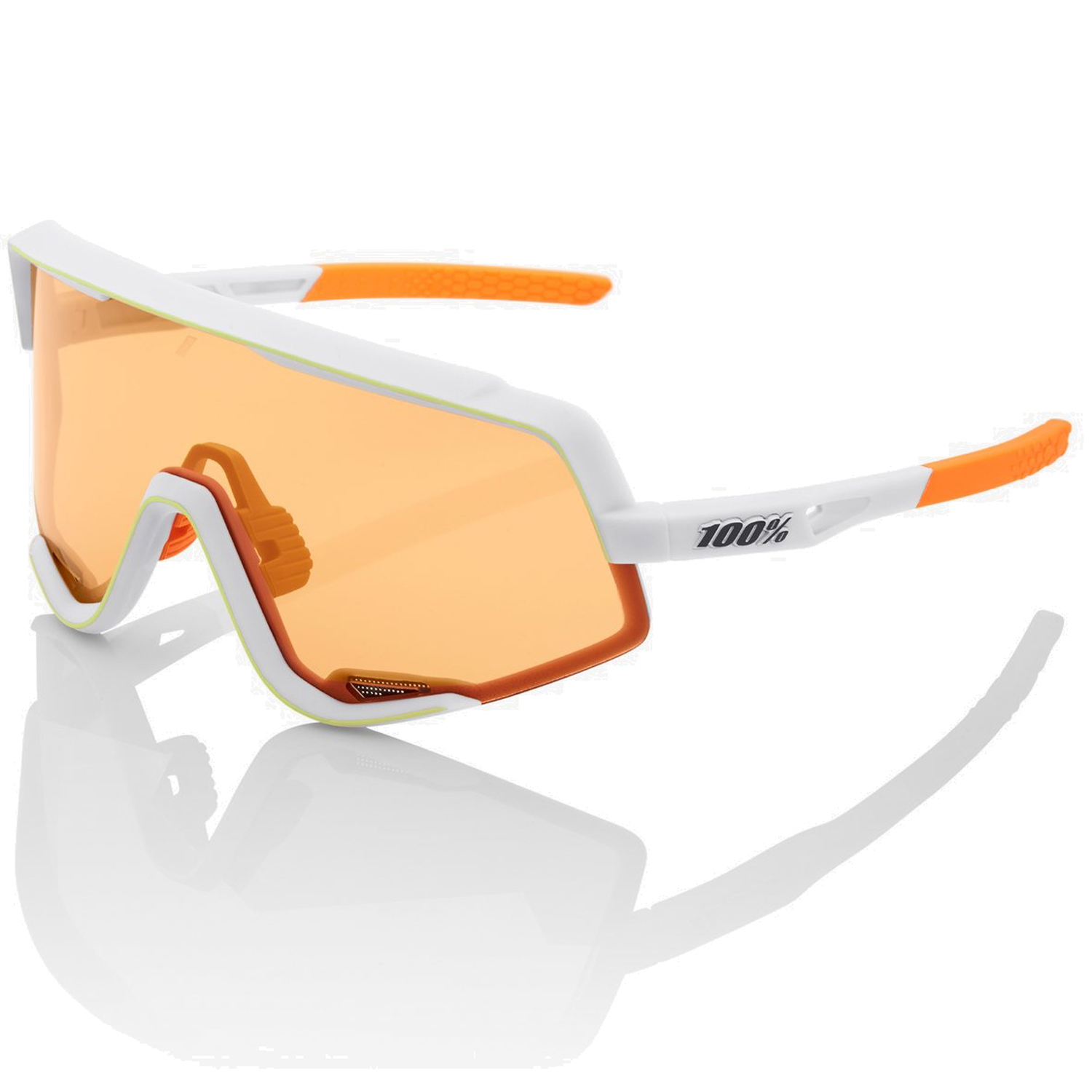 100% Glendale Gafas - Soft Tact Oxyfire White/Persimmon + Clear