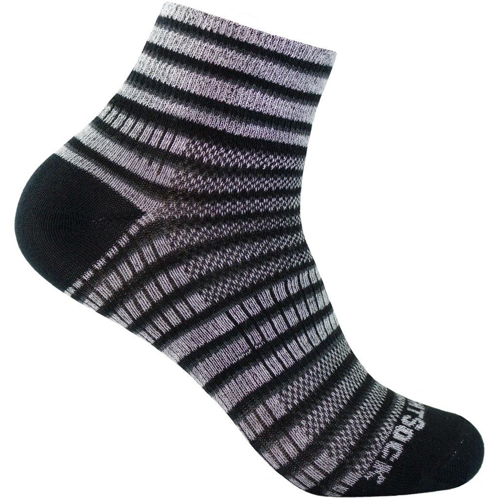 WRIGHTSOCK Coolmesh II Quarter Double Layer Striped Socks - black-white-grey - 815-03