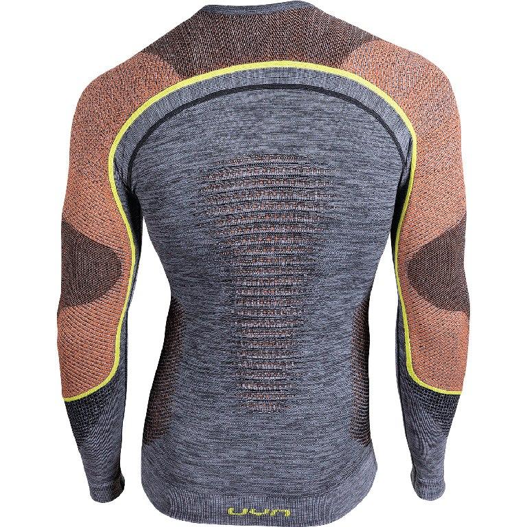 Image of UYN Ambityon Underwear Longsleeve Shirt Melange - Black Melange/Orange/Yellow