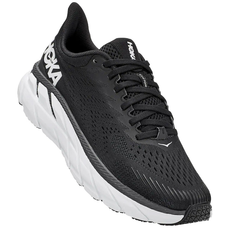Hoka One One Clifton 7 Wide Women's Running Shoes - black / white