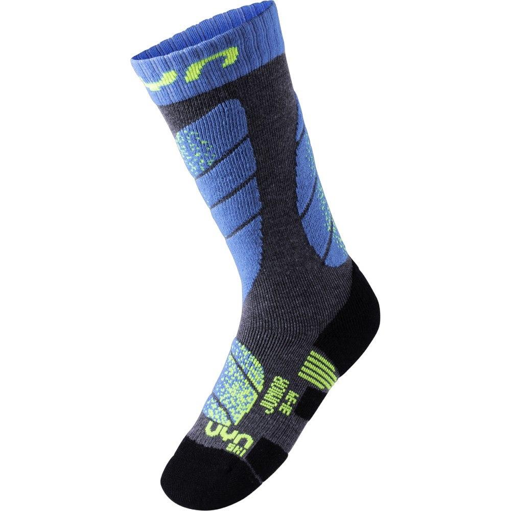 UYN Ski Junior Socks - Medium Grey Melange/Turquoise