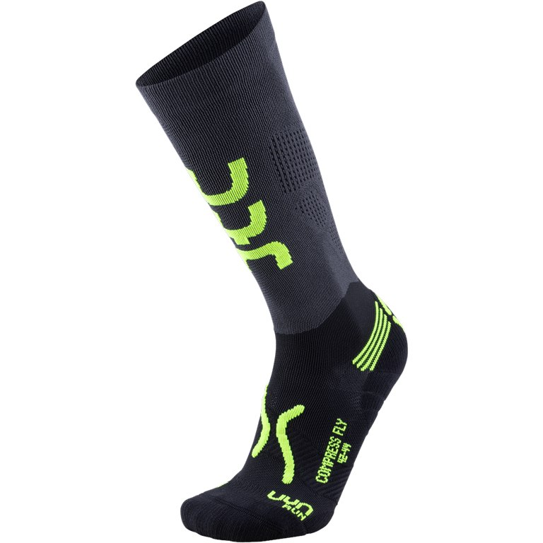 Image of UYN Running Compression Fly Man Socks - Anthracite/Yellow Fluo