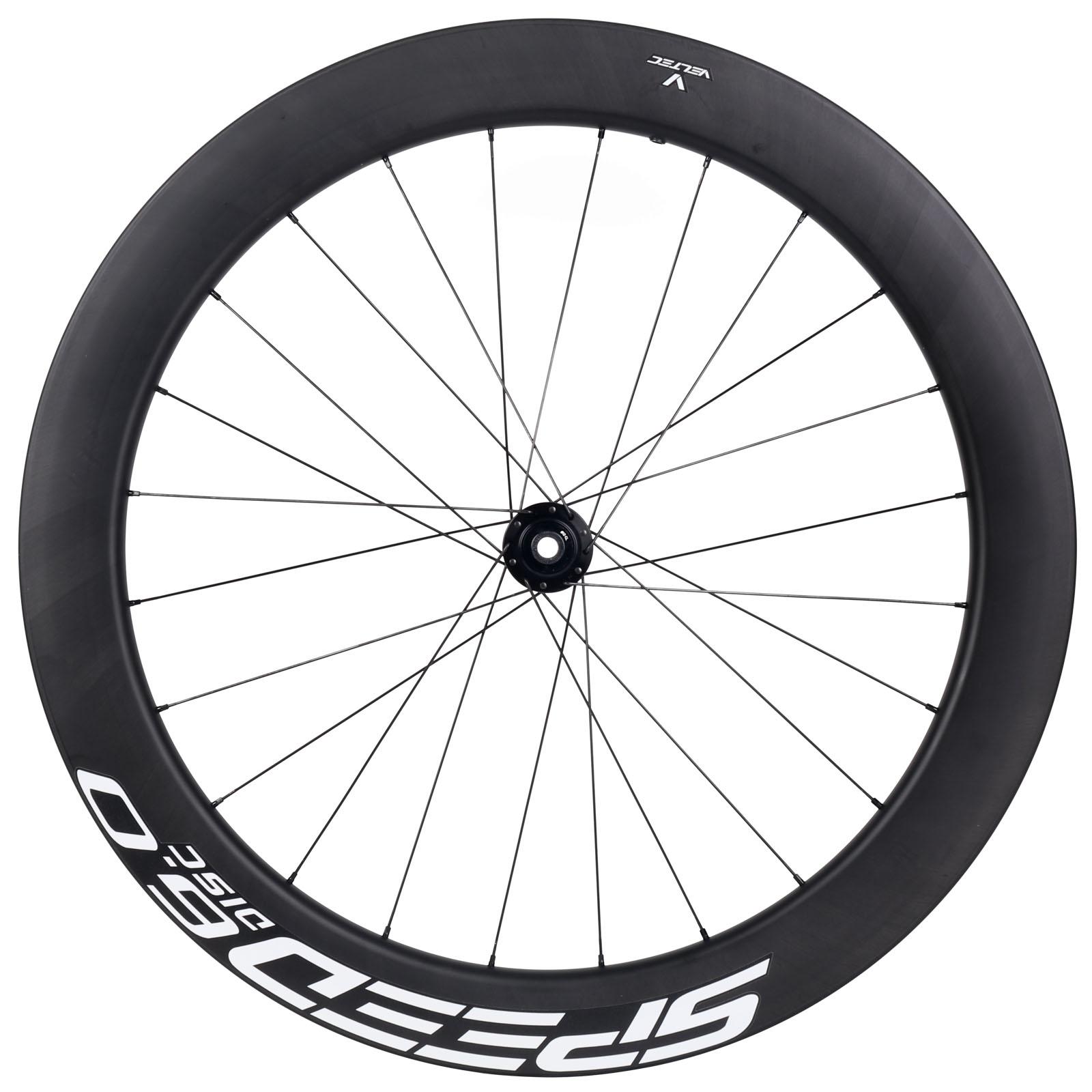 Veltec Speed 6.0 Disc Carbon Vorderrad - Drahtreifen - 12x100mm - schwarz mit weißen Decals